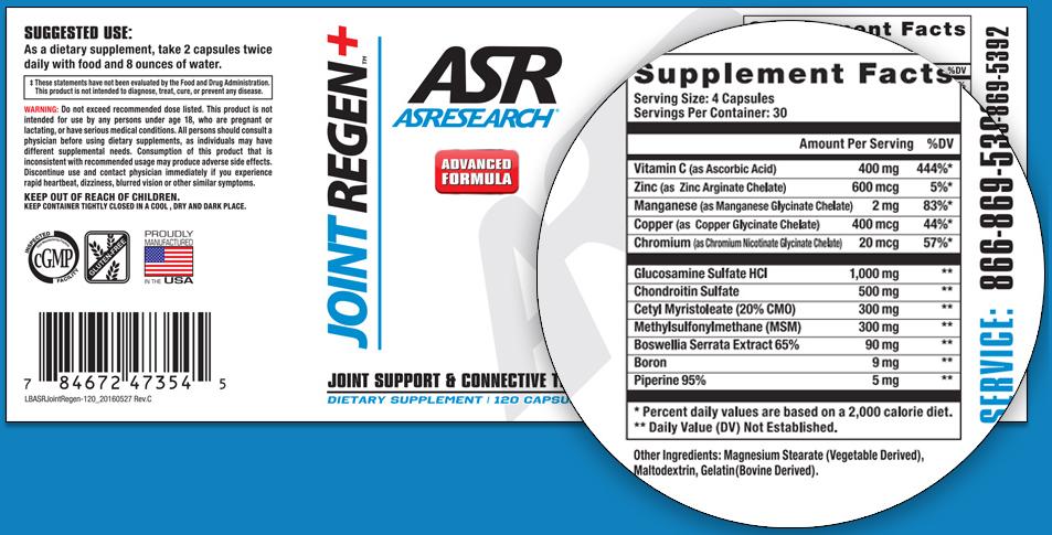 ASResearch Joint Regen Reviews - Read Its Supplement Facts!