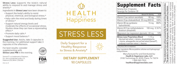 Health and Happiness Stress Less Ingredients